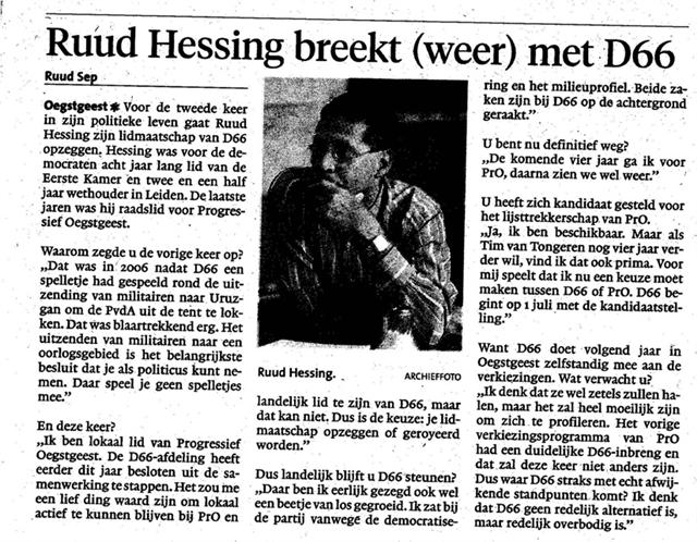 Ruud Hessing beschikbaar als lijsttrekker PrO